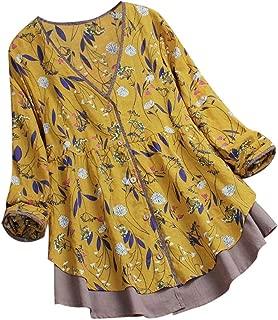 Women Floral Print Top, Lady Plus Size Blouse Patchwork Vintage Blouse Loose Fit Tunic Homewear Shirt