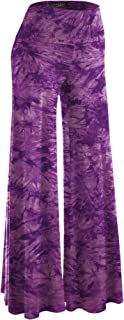 Women's Solid/Tie-Dye Casual Comfy Wide Leg Palazzo Lounge Pants Gaucho (S~3XL)