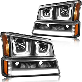 Dual LED U-Halo+DRL Headlight Assmbly Compatible with Chevy Silverado 03-06 Headlamps with Black Housing Amber Corner