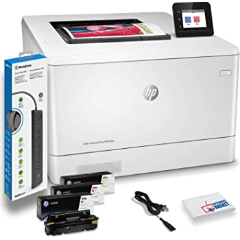 HP Color Laserjet Pro M454dw Wireless Color Laser Printer with Duplex Printing (W1Y45A) with Power Strip Surge Protector and Electronics Basket Cleaning Cloth