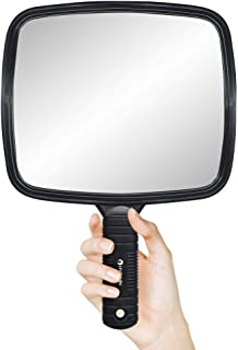 HYOUJIN Hairdressing Hand Mirror Professional Handheld Salon Barbers Hairdressers Paddle Mirror Tool with Handle