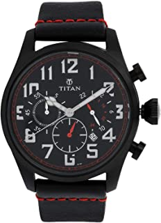9477NL01 ساعة تيتان للرجال ، كرونوغراف ، تقويم ، 30 متر مقاومة للماء ، حزام جلد ، أسود مع أحمر