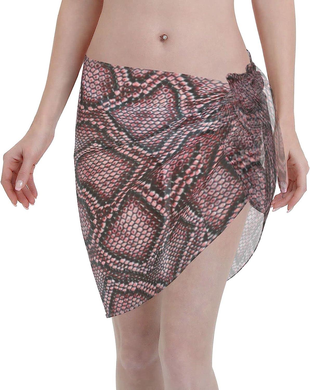 Reindeer Horn Women Short Snake Skin Sarongs Cover Ups Beach Chiffon Sarong Bikini Swimwear Black