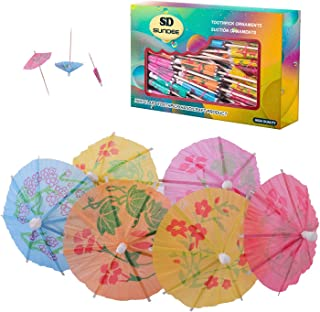 Tropical Drink Umbrella Picks, 4 Inch Paper Umbrella Parasol Cocktail Picks for Drinks and Party - Pack of 144