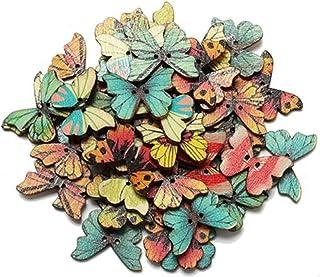 Botao de madeira multi colorido em forma de borboleta (100PC)