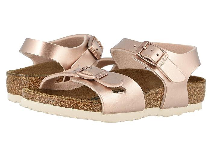Birkenstock Kids  Rio (Toddler/Little Kid/Big Kid) (Electric Metallic Copper Birko-Flortm) Girls Shoes