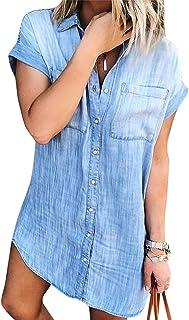 Women Denim Shirt Dresses Short Sleeve Distressed Jean...