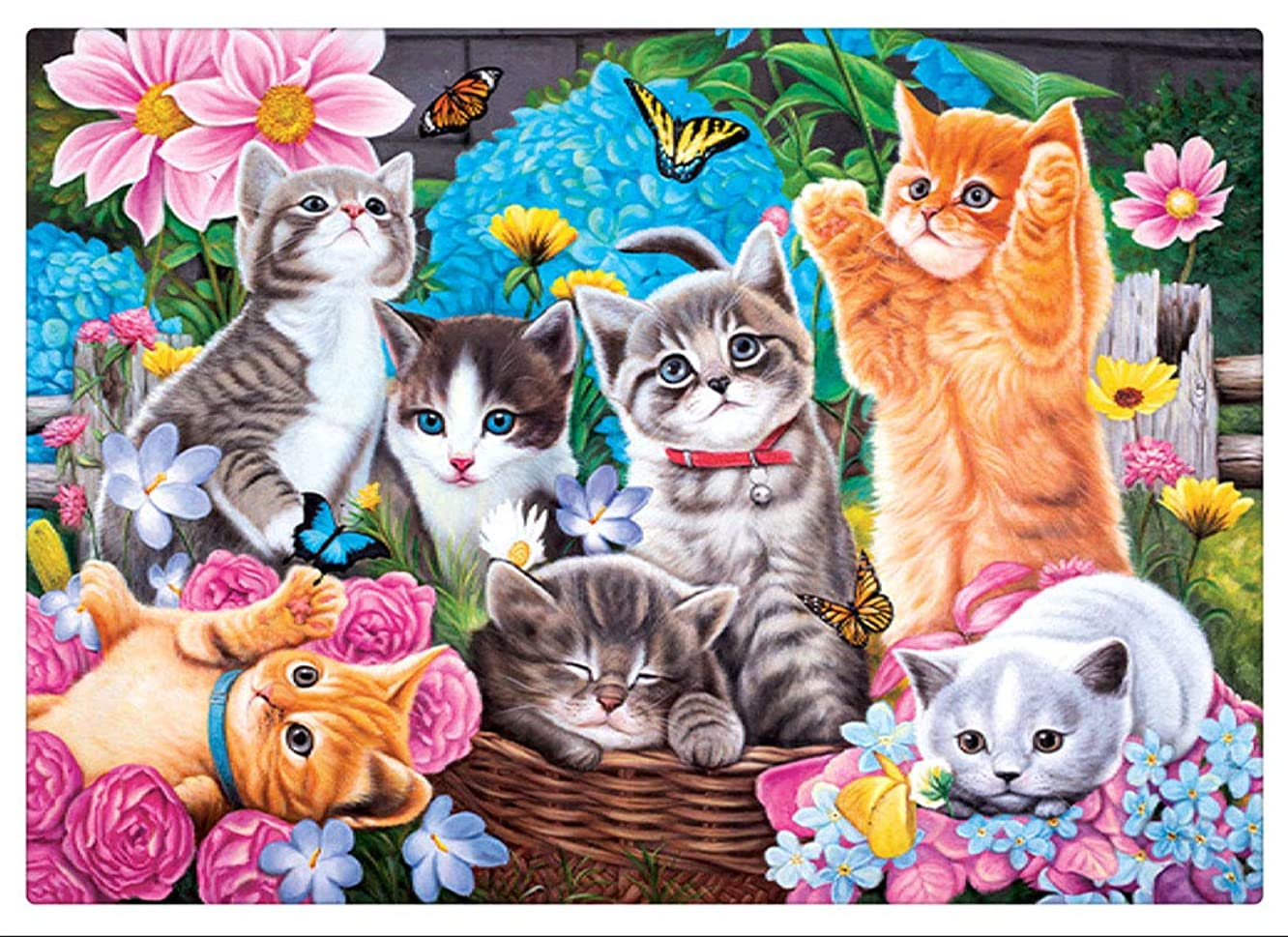 KoKoWill DIY 5D Diamond Painting Kit, Full Drill Round Crystal Rhinestone Embroidery Cross Stitch Home Wall Décor Arts Craft Canvas,Cute Kitten Cats,15.75 x 11.81 inch