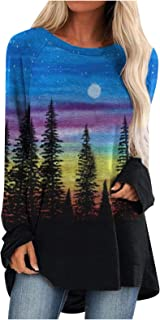 Women Blouse QUINTRA Plus Size Mountain Landscape Print Tunic Tops Long Sleeve T Shirts Casual Pullover Sweatshirt
