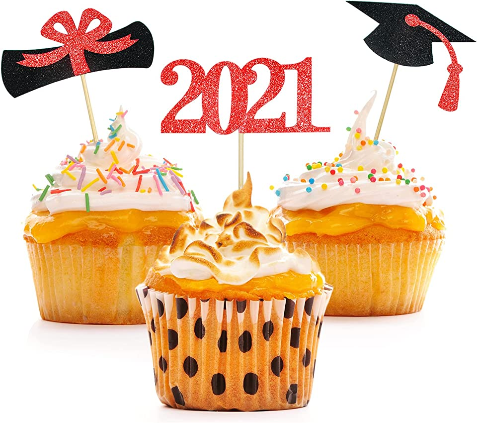 Graduation Cupcake Toppers 2021,48 PCS Graduation Decoration,Class of 2021 Food Appetizer Picks,Graduation Party Supplies/Food Appetizer Picks Mini Cake Decor(Red)