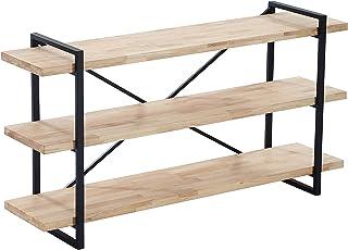 Adec - Plank Consola recibidor con 3 estantes acabada en Roble Salvaje y Estructura Metalica Color Negro Medidas: 140 cm...