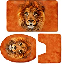 UZZUHI Decoration Orange Lion Face Toilet Cover Non Slip Bathroom Doormat Pedestal Rug 3 Piece Bath Mat Set