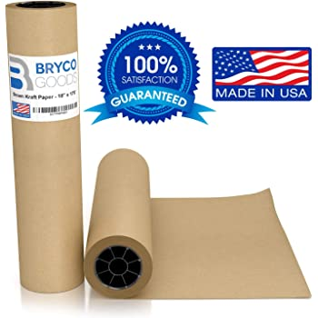 """Brown Jumbo Kraft Paper Roll - 18"""" x 2100"""" (175') Made in The USA - Ideal for Packing, Moving, Gift Wrapping, Postal, Shipping, Parcel, Wall Art, Crafts, Bulletin Boards, Floor Covering, Table Runner"""
