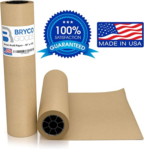 """Brown Jumbo Kraft Paper Roll - 18"""" x 2100"""" (175') Made in The USA - Ideal for Packing, Moving, Gift Wrapping, Postal,..."""
