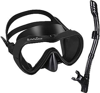 OMGear Snorkel Set Snorkeling Gear Package Diving Set Premium Silicone Dive Mask Snorkel Equipment Goggles Anti-Fog Anti-L...