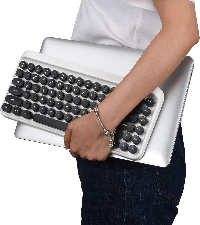 UBOTIE Portable Bluetooth Colorful Computer Keyboards, Wireless Mini Compact Retro Typewriter Flexible 84Keys Design Keyboard (Black-White)