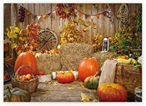 Funnytree 7x5ft Halloween Pumpkin Pictorial Rustic Warehouse Wood Wall Backdrop for Photography for Child Adult Family Autumn Harvest Event Portrait Photoshoot Background Photo Booth Studio Props