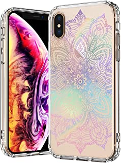 MOSNOVO iPhone Xs MAX Case, iPhone Xs MAX Clear Case, Gradient Rainbow Henna Mandala Pattern Printed Clear Design Transparent Back Case with TPU Bumper Case Cover iPhone Xs MAX