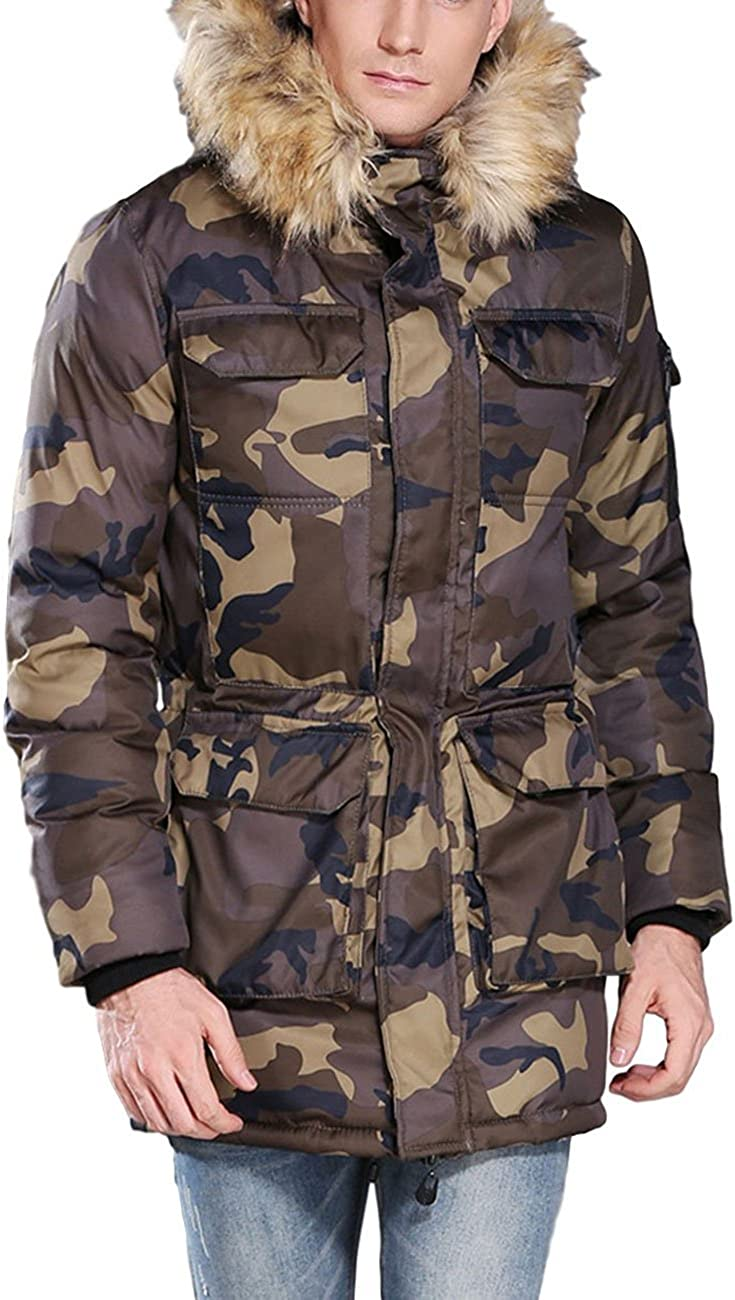 ZLSLZ Mens Winter Thick Warm Camo Long Padded Puffer Parka Jacket Coat With Fur Hood