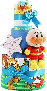オムツケーキ 出産祝い セガトイズ アンパンマン 名入れ刺繍 3段 おむつケーキ ぬいぐるみ (パンパースパンツタイプLサイズ, 男の子向け(ブルー系))