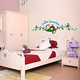 Rainbow Fox Sweet Dreams Monkeys and Tree Branch Birds Giant Baby Wall Sticker Decals Super for Boys and Girls Nursery Room Home Decor Decal Children's Room by Cute Product