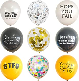 57 Pc Funny Coworker Going Away Last Day Office Party Decorations Balloons With Sequined Silver Balloon,Sequined Gold Balloon,Confetti Balloon