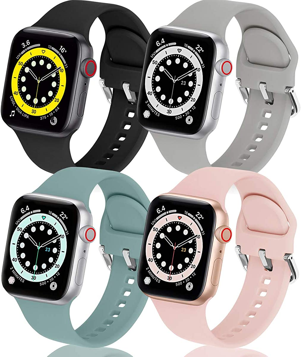 eCamframe Sport Bands Compatible with Apple Watch Bands 38mm 40mm 41mm 42mm 44mm 45mm, 4 packs Soft Silicone Waterproof Replacement Strap Wristband with Classic Clasp for iWatch Series 7 6 5 4 3 2 1 SE Women Men