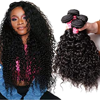 YIROO Brazilian Water Wave Virgin Human Hair Bundle Deal Wet and Wavy Hair Extensions 100% Unprocessed Double Weft 95-100g/pc Natural Black Color Tangle Free (16 18 20, 3 Bundles)
