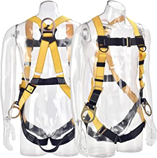WELKFORDER 3D-Ring Industrial Fall Protection Safety Harness ANSI/ASSE Z359.11-2014 Certified Full Body Personal Protection Equipment 5-Point Adjustment Universal 310 lbs