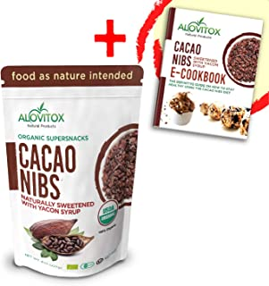 Organic Cacao Nibs with Pure Yacon Syrup by Alovitox | Decadent Low Calorie Cacao Chocolate Protein - Zero Sugar & Gluten Free | Paleo, Keto & Vegan Diet Sweetener | 45 Servings | FREE Recipe Book