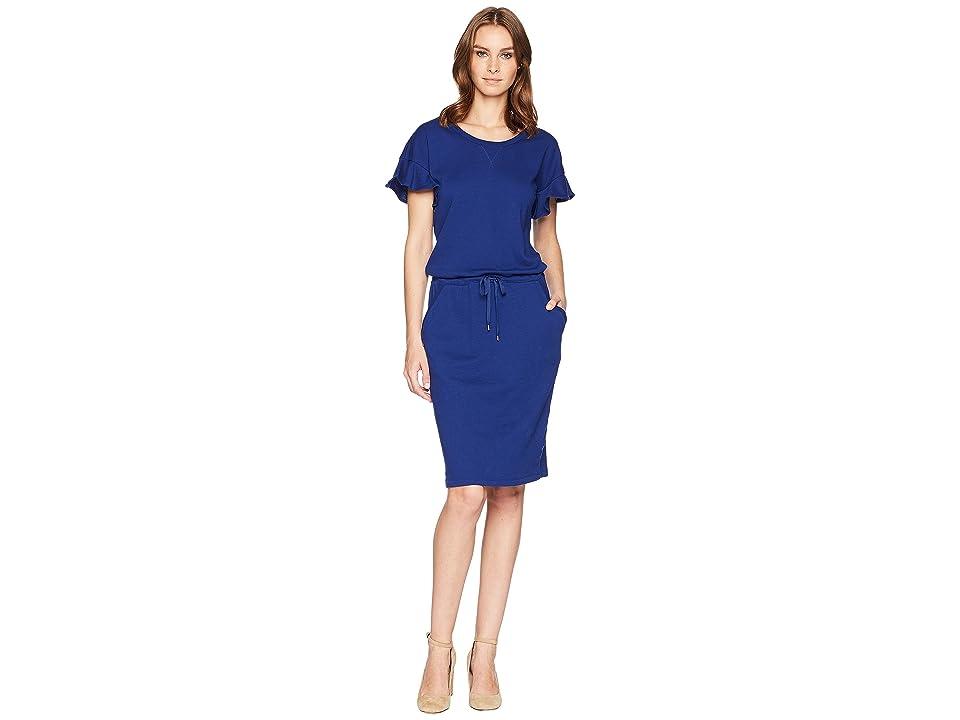 LAUREN Ralph Lauren French Terry Flounce Dress (True Sapphire) Women