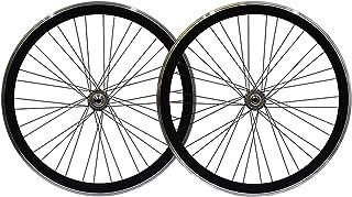 700C 固定ギア自転車 ホイールセット 40mm ピストバイク フロント そして リア ホイール アルミニウム合金 Vブレーキ リバースライディング リバースブレーキ (Color : Black)