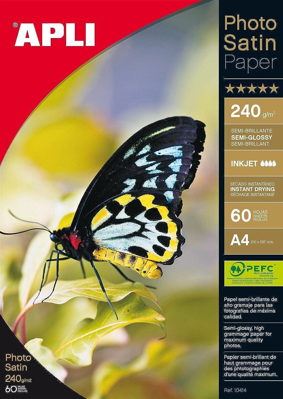 APLI 010414 60 Stück Fotopapier Satin 210 x 297 297 297 mm 240 g B0011Z22OA | Verschiedene Arten Und Die Styles  | Genial  | Schön geformt  d2e76c