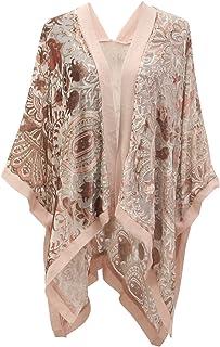 Genovega Boho Floral Burnout Velvet Dress Kimono Cardigan with Fringe Velvet Shawls Wraps