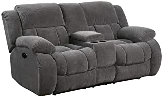 Coaster Home Furnishings Weissman Motion Loveseat with Cupholders and Storage Charcoal