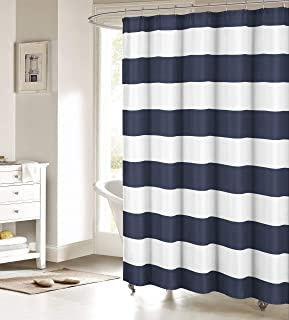 ALAGO Nautical Stripe Design Fabric Shower Curtain - Navy and White 48