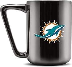 مج قهوة سيراميك من Duck House NFL Miami Dolphins - أسود معدني، 473 مل