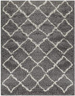 Wyatt & Ash Charcoal/Ivory 3.25 ft. x 5 ft. Diamond Trellis Shag Area Rug