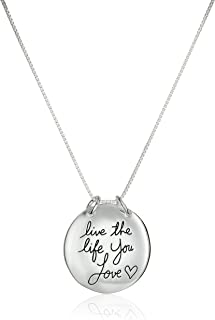 Sterling Silver Live The Life You Love Reversible Pendant Necklace