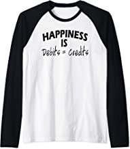 Happiness is Debits Equals Credits Accountant Gift Raglan Baseball Tee