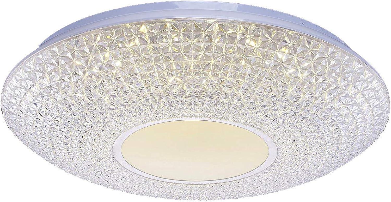 Diamond Life Modern LED Crystal Chandelier Flush Mount Ceiling Lighting Fixture, 3-color LED Bulbs Included