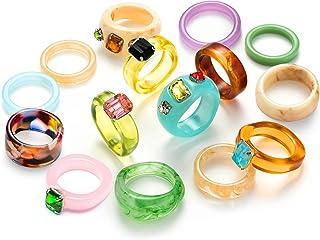 EIELO 15Pcs Resin Acrylic Vintage Rings for Women Retro Colorful Plastic Resin Ring Fashion Retro Ring Set