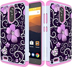 Turphevm ZTE Max XL Case, ZTE N9560 Case, [Shock Absorption] Dual Layer Anti-Slip Armor Silicone Rubber Heavy Duty Hybrid Protective Cover Case for ZTE Max XL/ZTE N9560(Pink Violet)
