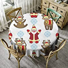 Christmas Round Tablecloth,Round Outdoor Tablecloth,Cartoon Santa Claus and Xmas Elk in Funny White Red,Christmas Decoration Easy Care-(70