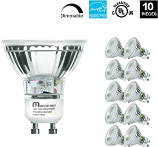 LED GU10 Spotlight Light Bulbs, 50 Watt Equivalent, 5.5W Dimmable, MR16 Full Glass Cover, 5000K Daylight, 25000 Hours, UL Listed, Energy Star Certified, by Mastery Mart (Pack of 6)