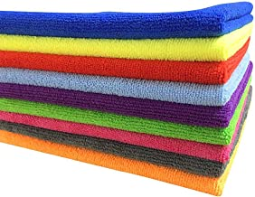 SOFTSPUN B Quality Microfiber Cloth - Going Cheap! 10 pcs - 40x40 cms - 340 GSM - Assorted Colour - Thick Lint & Streak-Free Multipurpose Cloths - for Car Bike Cleaning Polishing Washing & Detailing.