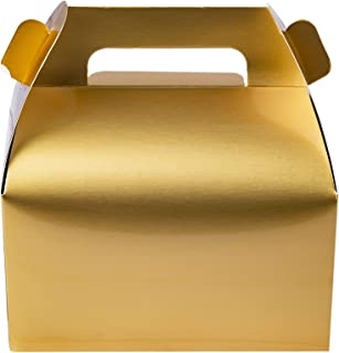 25-Pack Gable Metallic Gold Candy Treat Boxes,Small Goodie Gift Boxes for Wedding and Birthday Party Favors Box 6.2 x 3.5 x 3.5 inch