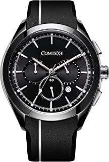 Comtex Mens Watch Sports Black Band with Black Dail White Feature Water Resistant Watch Gift for