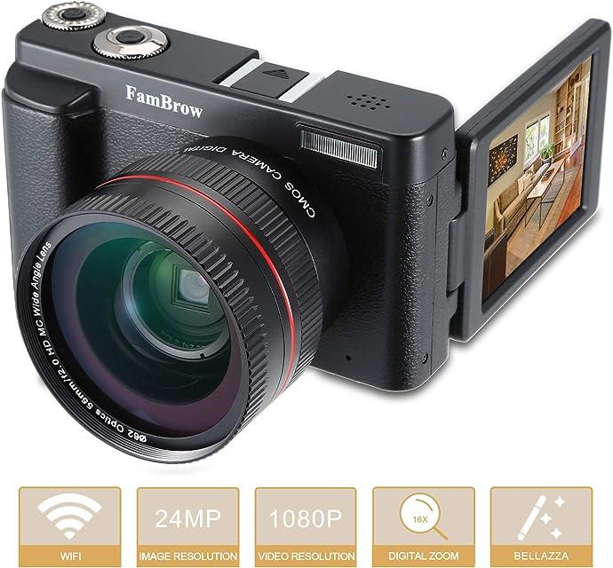 Cámara de fotos digital Wifi cámara digital Full HD FamBrow videocámara compacta 16 x Zoom digital 1080P 24 MP con objetivo gran angular