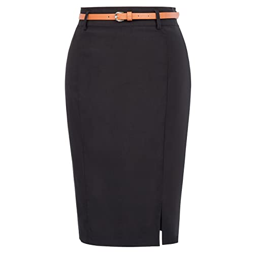 c79112ed94fb8e Kate Kasin Women's Bodycon Pencil Skirt with Blet Solid Color Hip-Wrapped